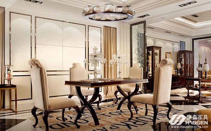 圣巴利美式轻奢乌金木餐桌