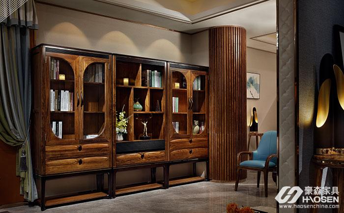 豪森缘创新北欧现代实木书柜
