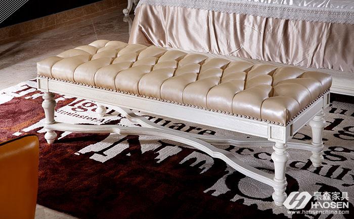 北欧世家简欧风格白蜡木真皮床尾凳