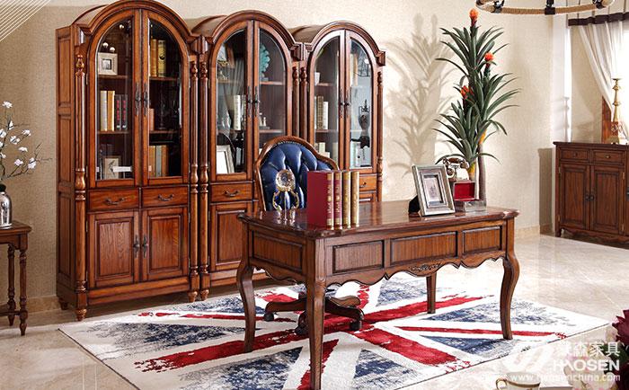 北欧世家简欧风格白蜡木书桌书柜
