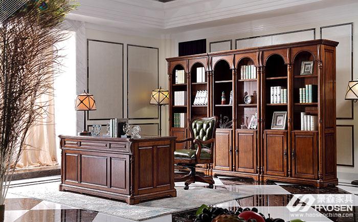 北欧世家简欧全实木书桌、书柜