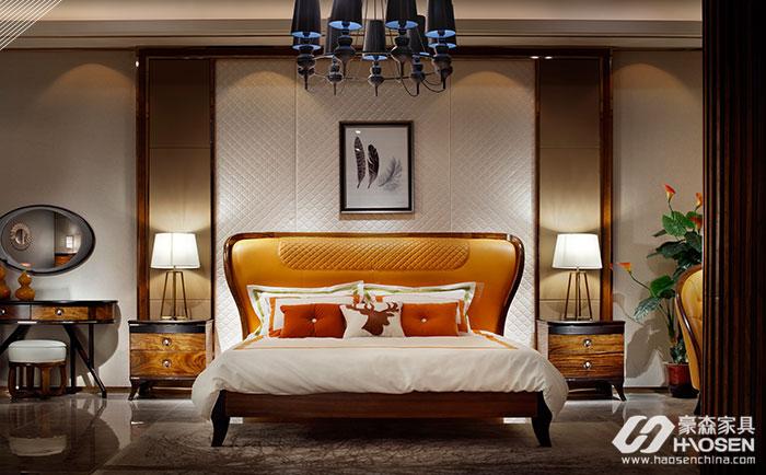 豪森缘创新北欧现代乌金木卧室床
