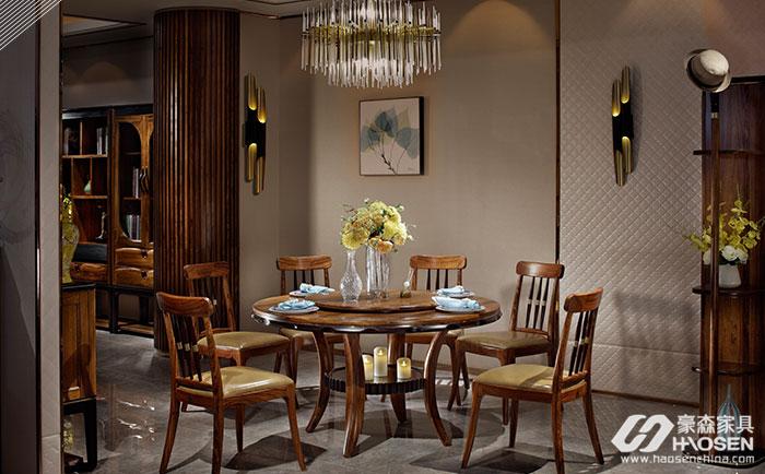 豪森缘创新北欧现代乌金木餐桌