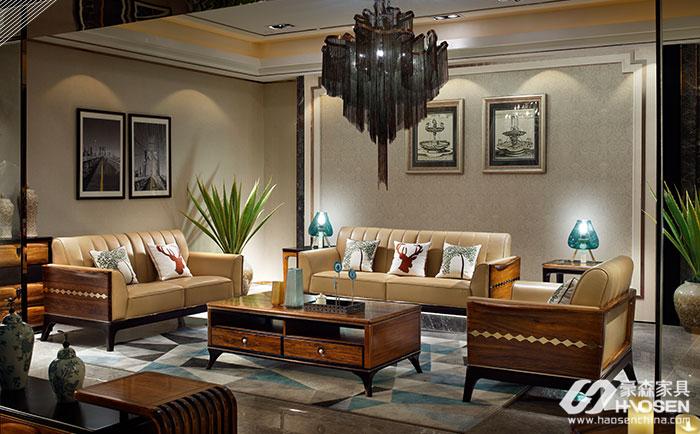 豪森缘创新北欧乌金木客厅沙发